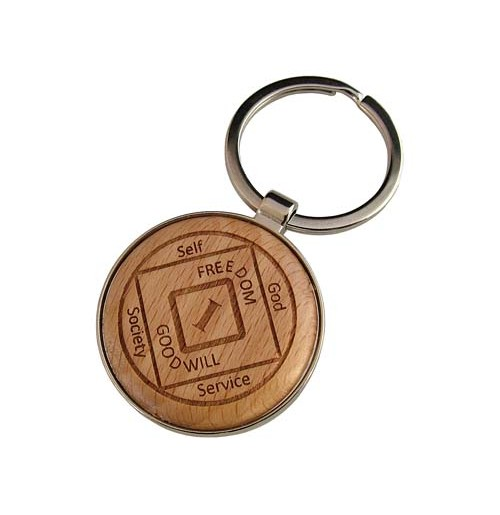 WOODEN ROUND-SHAPE-LOGO ENGRAVED KEY TAG